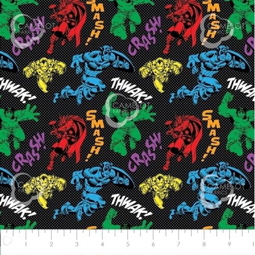 Avengers Unite Hulk Thor Captain America Black Cotton Fabric