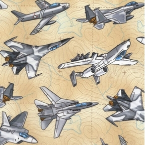 Jets Military Fighter Planes Topographic Map Tan Cotton Fabric