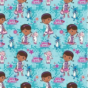 Disney Doc McStuffins We Care Patients Friends Blue Cotton Fabric