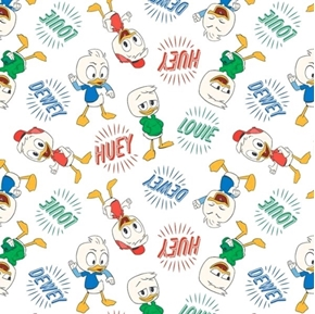 Disney Classic Ducktales Huey Dewey Louie White Cotton Fabric