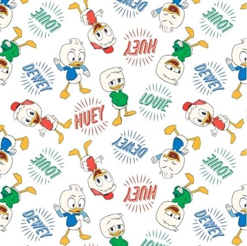Disney Classic Ducktales Huey Dewey Louie White Cotton Fabric