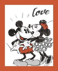Disney Mickey and Minnie Vintage Love Large Cotton Fabric Panel