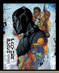 Picture of Marvel Black Panther Wakanda Warriors Large Cotton Fabric Panel