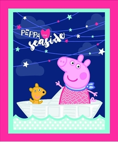 Peppa Pig Peppa the Seaside Large Cotton Fabric Panel