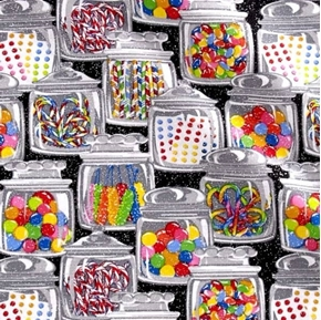 Picture of Candy Jars Jellybean Rock Candy Gum Ball Glitter Sweets Cotton Fabric