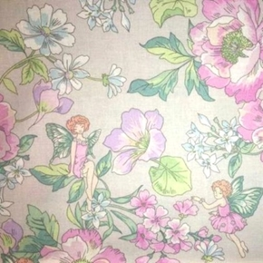 Picture of Fairy Flower Garden Flowers and Fairies Grey Cotton Fabric