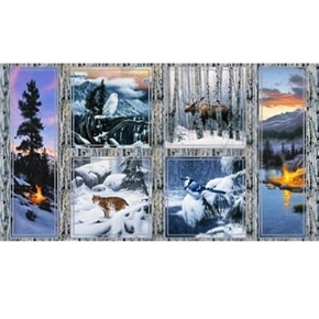Picture of Last Light Northern Winter Woodland Animals 24x44 Cotton Fabric Panel