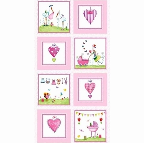 Picture of A Bundle of Pink Baby Girl Scenes 24x44 Cotton Fabric Panel