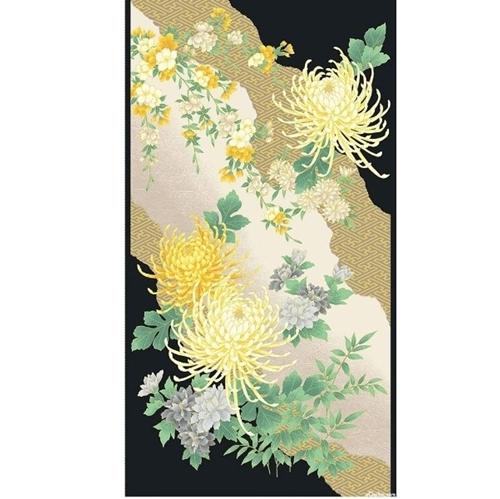 Mandalay Chrysanthemum Spider Mum Metallic 24x44 Cotton Fabric Panel