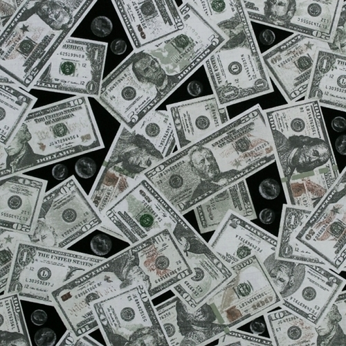 Picture Of Money Dollar Bills And Coins Currency Cash Black Cotton Fabric