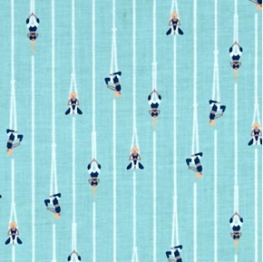 Aerial Yoga Women Doing Yoga Hanging From Ropes Aqua Cotton Fabric
