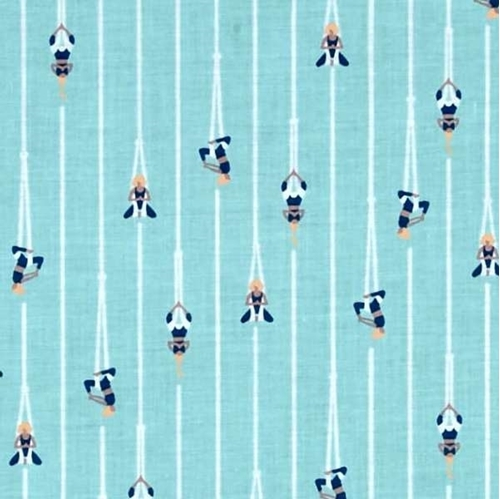 Picture of Aerial Yoga Women Doing Yoga Hanging From Ropes Aqua Cotton Fabric