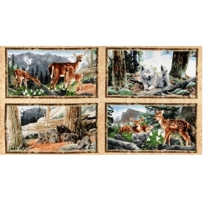 Journeys Beginning Deer and Wolf Family 24x44 Cotton Fabric Panel Set