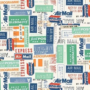 Vacation Airmail International Postage Mail Labels Cotton Fabric