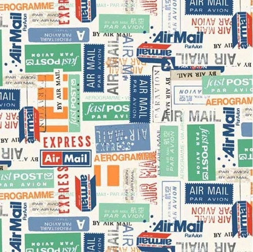 Picture of Vacation Airmail International Postage Mail Labels Cotton Fabric