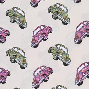 Picture of Volkswagen Beetle VW Bug Hippy Peace Love Cars Beige Cotton Fabric