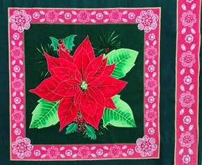 Picture of Christmas Holiday Red Poinsettia Flower on Green Pillow Panel