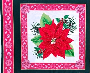 Picture of Christmas Holiday Red Poinsettia Flower on White Pillow Panel