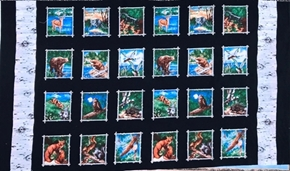 Woodland Animals Birch Tree Patch 24x44 Cotton Fabric Panel