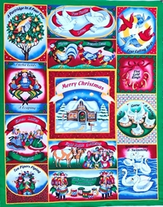 Picture of Holiday Editions 12 Days of Christmas Large Cotton Fabric Panel