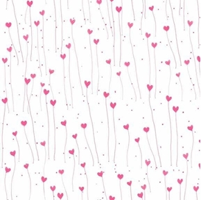 Picture of The Gift of Friendship Santoro Hearts Hot Pink on White Cotton Fabric