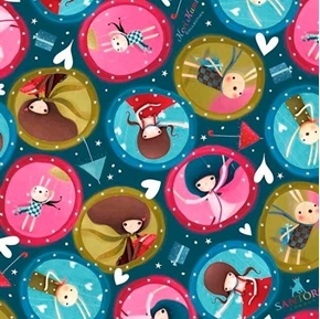 Picture of The Gift of Friendship Santoro Girl Medallions Teal Cotton Fabric