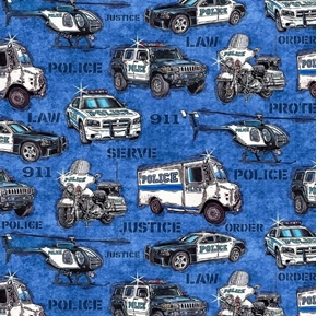 Picture of Protect and Serve Police Vehicles Helicopter Van Blue Cotton Fabric