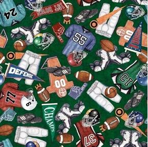 Gridiron Everything Football Equipment Fan Gear Green Cotton Fabric
