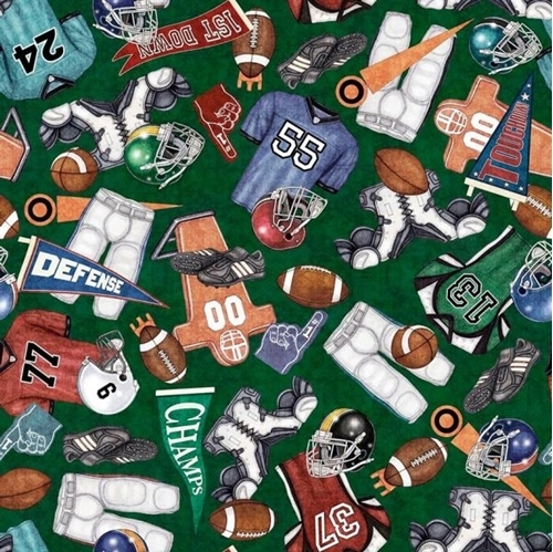 Picture of Gridiron Everything Football Equipment Fan Gear Green Cotton Fabric