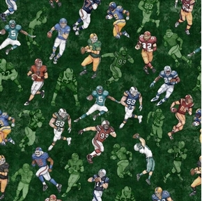 Picture of Gridiron Football Players in Action Green Cotton Fabric