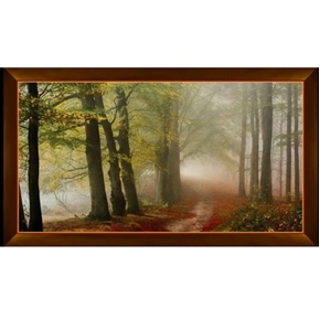 Picture of Artworks IX Morning Mist Trail in the Woods 24x44 Cotton Fabric Panel