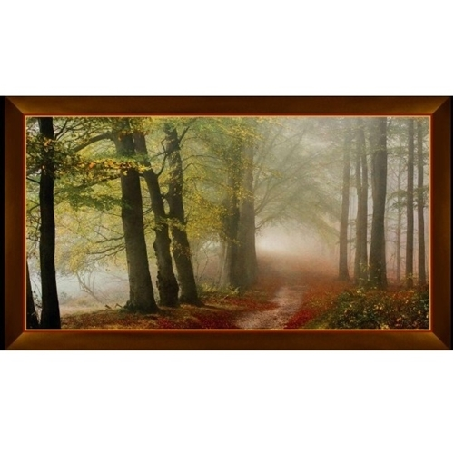 Artworks IX Morning Mist Trail in the Woods 24x44 Cotton Fabric Panel
