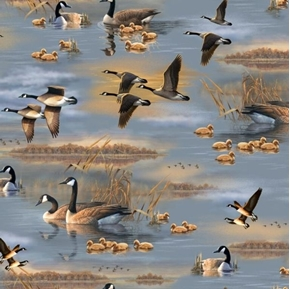 Flying Geese Canada Geese Scenic Family in the Water Cotton Fabric