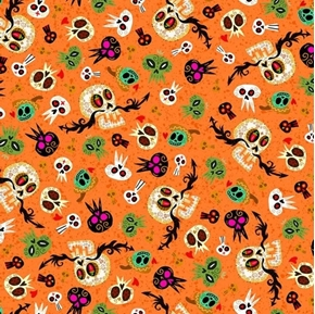 Hot Tamale Skulls Tossed Mexican Skull Orange Cotton Fabric