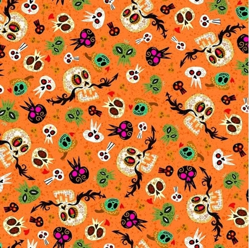 Picture of Hot Tamale Skulls Tossed Mexican Skull Orange Cotton Fabric