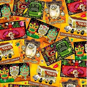 Picture of Hot Tamale Tossed Foodie Patches Mexican Food Orange Cotton Fabric