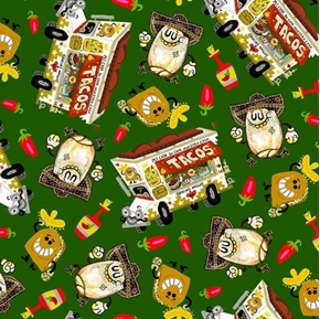 Hot Tamale Tossed Food Mexican Food Taco Truck Green Cotton Fabric