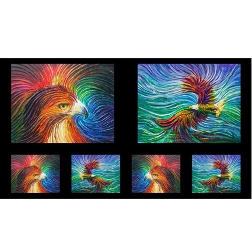 Picture of Artworks IX Eagle and Wave Ombre Bald Eagle 24x44 Cotton Fabric Panel