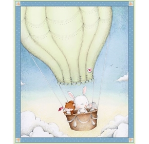 Picture of Up, Up and Away Bunny Fox Mouse Hot Air Balloon Large Cotton Fabric Panel
