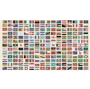 Wanderlust Flags of the World Vintage Travel 24x44 Cotton Fabric Panel