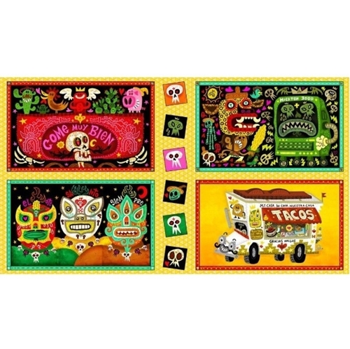 Hot Tamale Large Foodie Patch Mexican Tacos 24x44 Cotton Fabric Panel