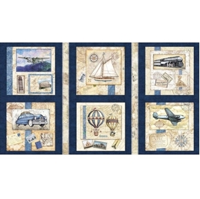 Wanderlust Picture Patch Vintage Travel Navy 24x44 Cotton Fabric Panel