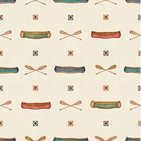 Picture of Backcountry Canoes Paddles Camping Canoe Light Cream Cotton Fabric