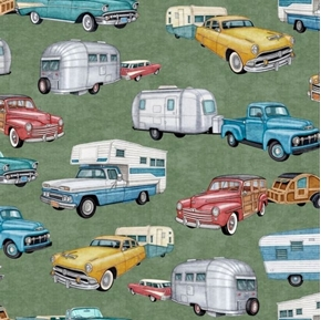 Backcountry RVs Vintage Campers Retro Trailers Green Cotton Fabric