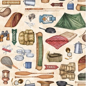 Picture of Backcountry Camping Motifs Tent Canoe Camp Gear Cream Cotton Fabric