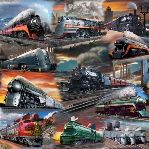 Picture of Artworks IX Classic Trains Locomotives Steam Engines Cotton Fabric