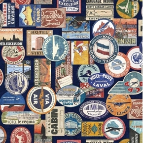 Wanderlust Luggage Labels Vintage World Travel Navy Cotton Fabric
