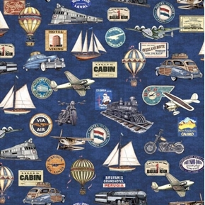 Wanderlust Trains Planes Automobiles Vintage Travel Navy Cotton Fabric