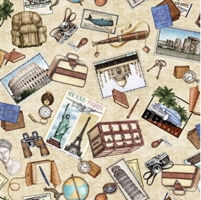 Wanderlust Travel Toss Vintage Tourist Things Cream Cotton Fabric