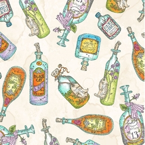 Salem Quilt Show Potion Bottles Hairy Moles Black Cat Cotton Fabric